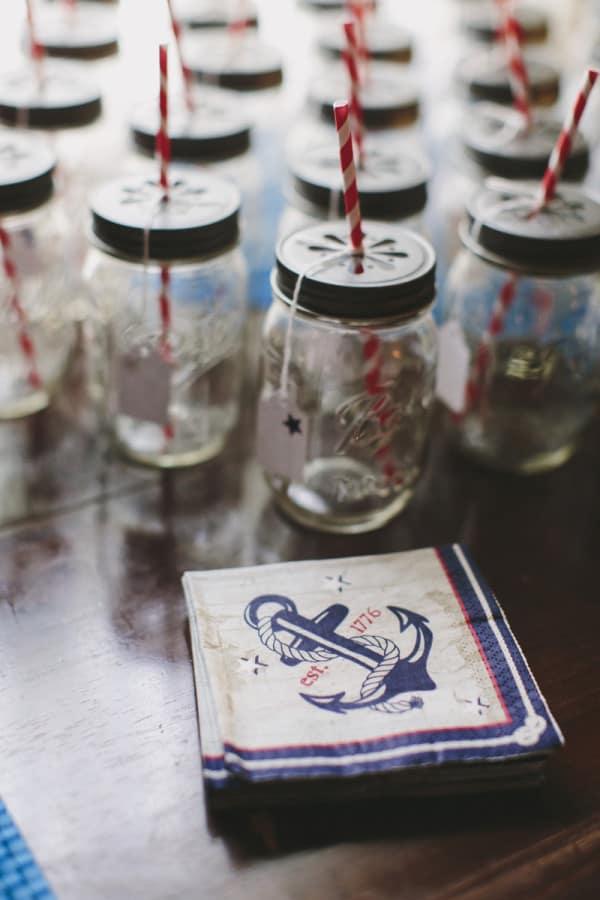 mason jars nautical theme fourth of july party