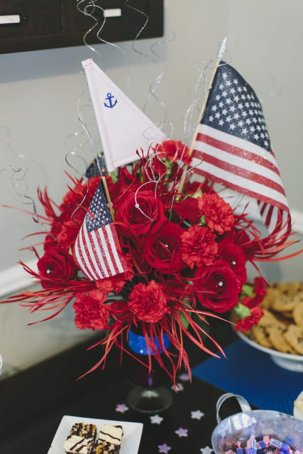 nautical flower arrangement fourth of july party