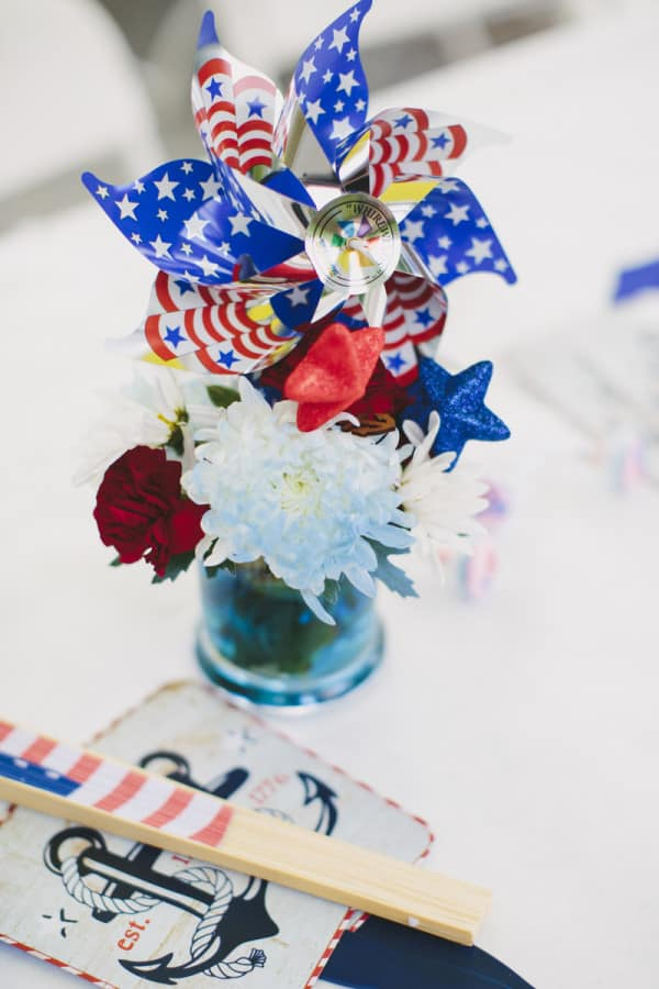 centerpiece red white blue fourth of july party
