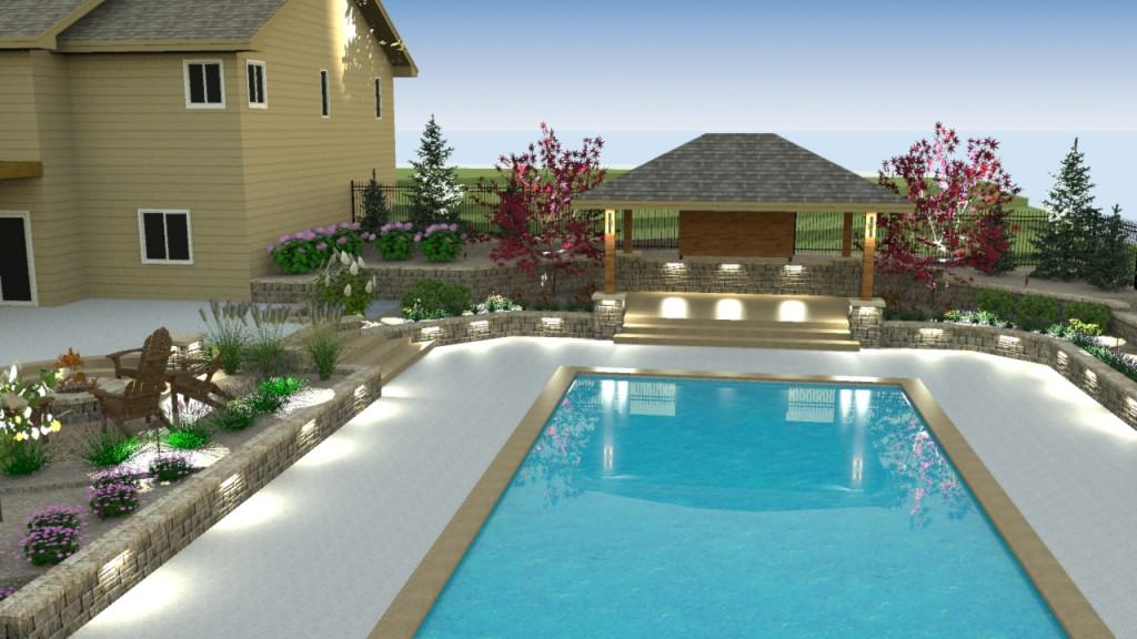 Shade structure swimming pool landscape desian