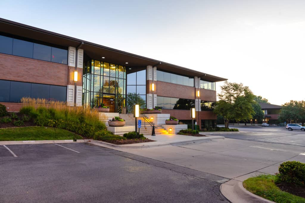 commercial landscaping with lighting