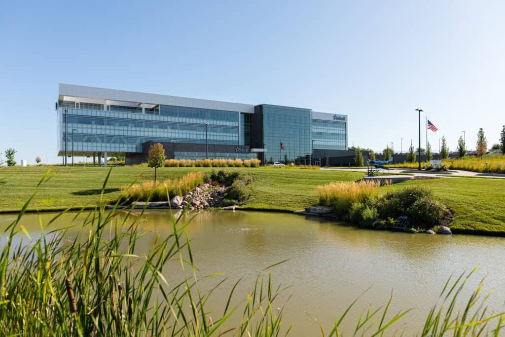 Commercial landscaping with pond