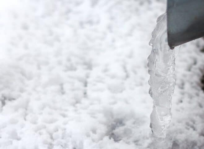 Ice in downspout